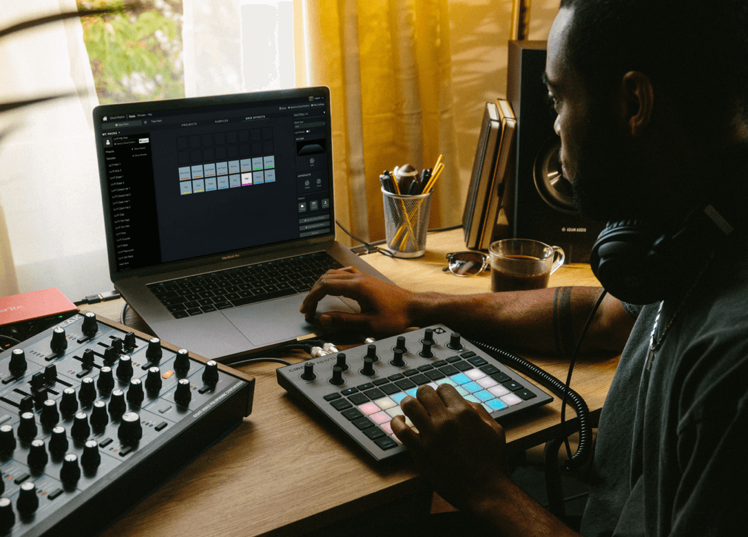 Circuit Rhythm with laptop and Novation Components