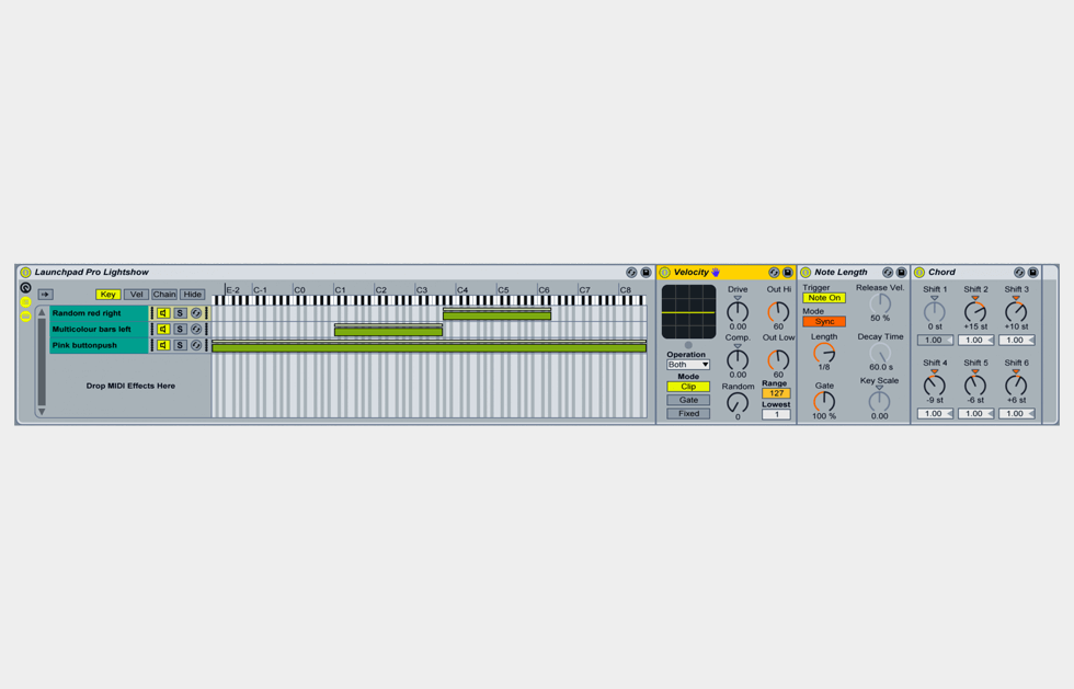 A typical chain, using several Ableton MIDI Effects in a MIDI Effects Rack.